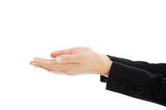 Utrymme för affärskvinnainnehavkopia i händer Arkivbild