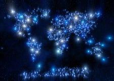 Utrymme för blåa stjärnor för världskarta Arkivfoton