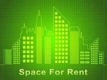 Utrymme för hyra föreställer den Real Estate 3d illustrationen Stock Illustrationer