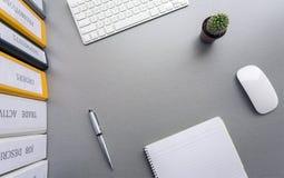 Utrymme för kontorsarbete på det gråa skrivbordet med kaktuns och Royaltyfria Bilder