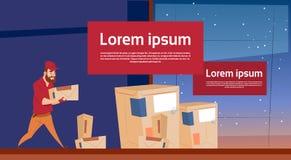 Utrymme för kopia för baner för kurirMan Carry Box Delivery Package Post service vektor illustrationer