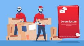 Utrymme för kopia för baner för kurirRobots Carry Box Delivery Package Post service stock illustrationer