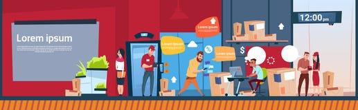 Utrymme för kopia för baner för lager för kurirMan And Woman Carry Boxes Delivery Package Post service inre royaltyfri illustrationer