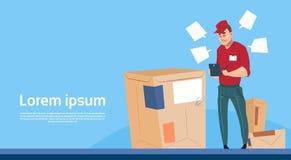 Utrymme för kopia för baner för service för stolpe för packe för leverans för kurirMan Use Tablet ask stock illustrationer