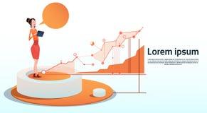 Utrymme för kopia för diagram för affär för affärskvinnaVisualization Analysis Finance graf finansiellt Royaltyfri Bild