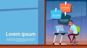 Utrymme för kopia för funktionsduglig dator för kontor för skrivbord för sammanträde för affärsman skrivbords- stock illustrationer