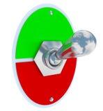 Utrymme för kopia för mellanrum för vippströmbrytareFlip Up Down On Off spak Arkivfoton
