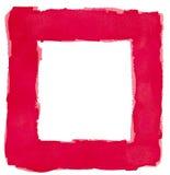 Utrymme för kopia för röd gräns för vattenfärgfyrkantram vitt Arkivfoto