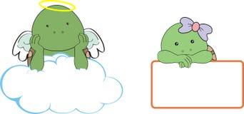 Utrymme för kopia för moln för kerubsköldpaddatecknad film vektor illustrationer