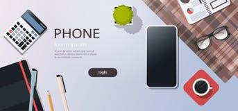 Utrymme för kopia för smart för telefon för arbetsplatsskrivbordcell för affär för strategi för begrepp för bästa vinkel för sikt stock illustrationer