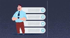 Utrymme för kopia för uppsättning för infographics för affärsman för lägenhet för begrepp för seminarium för presentationsmöte vektor illustrationer