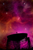 Utrymme för sökande för radioteleskop Arkivbilder