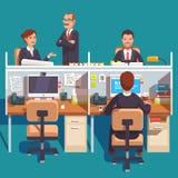 Utrymme för sovalkovkontorsarbete med anställda vektor illustrationer