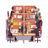 Utrymme för sovalkovkontorsarbete med anställda royaltyfri illustrationer