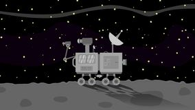 Utrymme Rover Collecting Data på månen i utrymme royaltyfri illustrationer