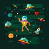 Utrymme, ufo och astronaut Royaltyfri Foto