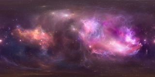 Utrymmebakgrund med den purpurfärgade nebulosan och stjärnor Panorama översikt för miljö 360 HDRI Equirectangular projektion, sfä Fotografering för Bildbyråer