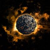 Utrymmebakgrund med den vulkaniska planeten Royaltyfri Foto