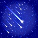 Utrymmebakgrund med stjärnor och komet Stock Illustrationer