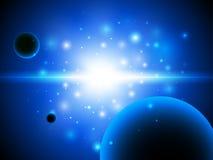 Utrymmebakgrund med stjärnor och planeten. Arkivbilder