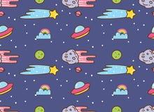 Utrymmebakgrund med ufo, stjärnan och meteor i kawaiistilbakgrund stock illustrationer