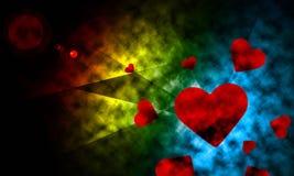 Utrymmebelysning med hjärtaabstrakt begreppbakgrund. Royaltyfria Foton