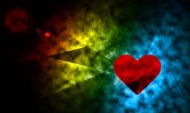 Utrymmebelysning med hjärtaabstrakt begreppbakgrund. Arkivfoto