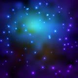 Utrymmehimmelbakgrund med stjärnor och ljus Royaltyfri Bild