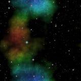 Utrymmeillustration med stjärnor och den färgrika nebulosan Royaltyfri Bild