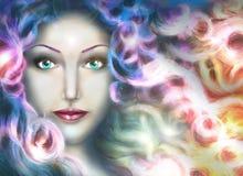 Utrymmekvinna med magiskt hår Royaltyfria Bilder