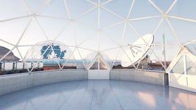 Utrymmelaboratorium, science fictioninre liv fördärvar på, den främmande planeten stock illustrationer