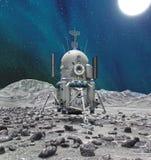 Utrymmelander på planeten eller komet Royaltyfri Bild