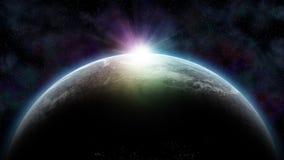 Utrymmelandskap med planeten som ner bryter Arkivbilder