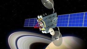 Utrymmelaser-vapen Saturn på bakgrund, den uppdiktade militära satelliten på omlopp av planeten skjuter från ett science fictionv royaltyfri illustrationer
