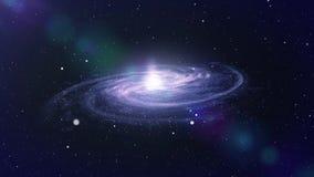 Utrymmelopp nära stor galax royaltyfri illustrationer