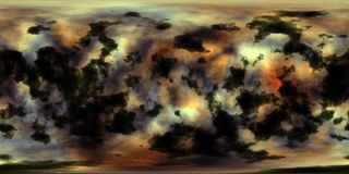 Utrymmenebulosa och stjärnor 360 grad sfärisk panorama Arkivbilder