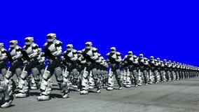 Utrymmeopera: Marschmilitärpoliser (blå skärm)