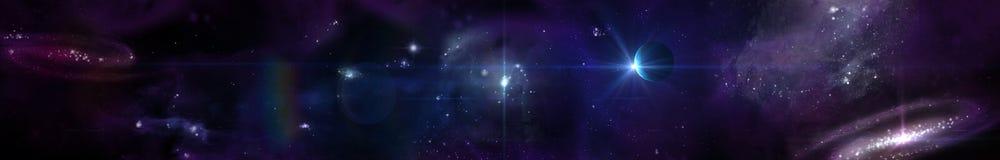 Utrymmepanoramalandskap sikt av universumet Royaltyfri Foto