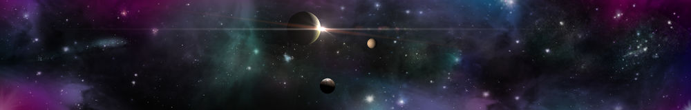 Utrymmepanoramalandskap sikt av universumet Arkivbilder