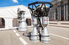 Utrymmeraketmotorer NK-33 och RD-107A vid korporationen Arkivbilder