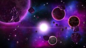 Utrymmescience fictionbakgrund med snurrplaneter och asteroider Sömlös ögla stock video