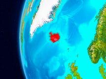 Utrymmesikt av Island i rött Royaltyfria Foton