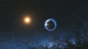 Utrymmesikt på den planetjord och solen i universum Arkivbilder