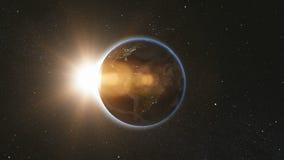 Utrymmesikt på den planetjord och solen i universum Royaltyfria Bilder