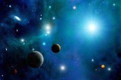 Utrymmesol och stjärnabakgrund vektor illustrationer