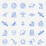 Utrymmesymbolsuppsättning 25 vektorsymboler packar royaltyfria bilder