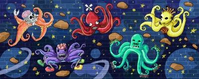 Utrymmetioarmad bläckfisk- och yttre rymdväggmålarfärg royaltyfri illustrationer