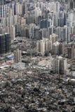 Utrzymani dziejowi miejsca i rozkładać się mieszkaniowych wieżowów w Szanghaj Fotografia Stock