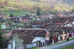 Utrzymani Starzy domy w Biertan, Rumunia Zdjęcia Stock