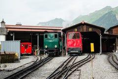 Utrzymanie łatwość dla stojaka steamtrain - Szwajcaria zdjęcia stock